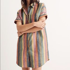 Madewell courier shirtdress in rainbow stripe